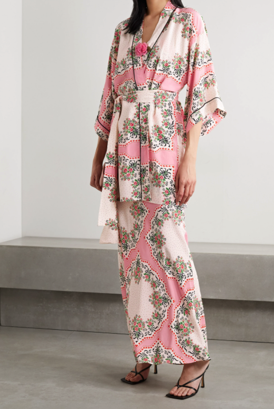 Rodarte belted printed silk crepe de chine robe and gown