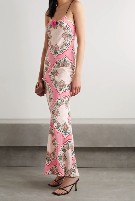 Rodarte belted printed pink silk crepe de chine gown