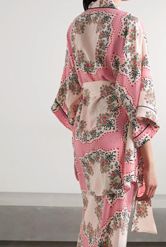 Rodarte belted printed pink silk crepe de chine robe