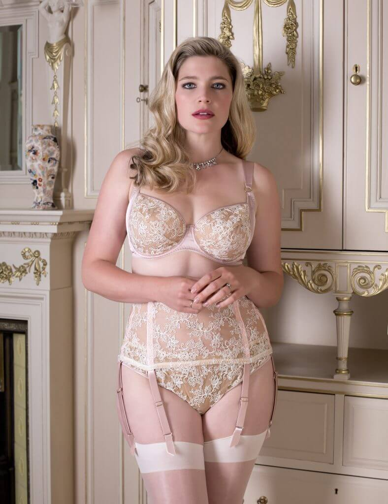 Harlow and Fox. Luxury, embroidered bridal lingerie with blush silk for full busts.