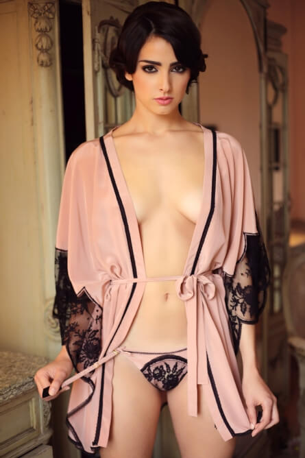 Shell Belle Couture - Room Service Kimono - French Leavers Lace appliqué on Silk Crepe de Chine