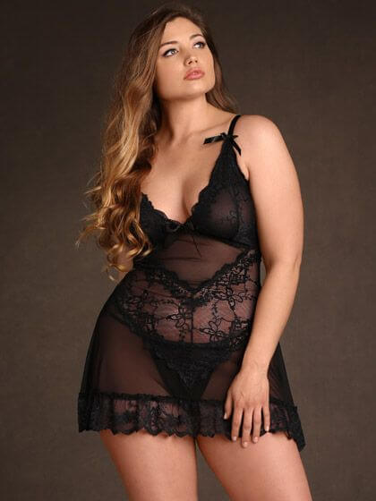 Soft Floral Lace Babydoll by Hips and Curves