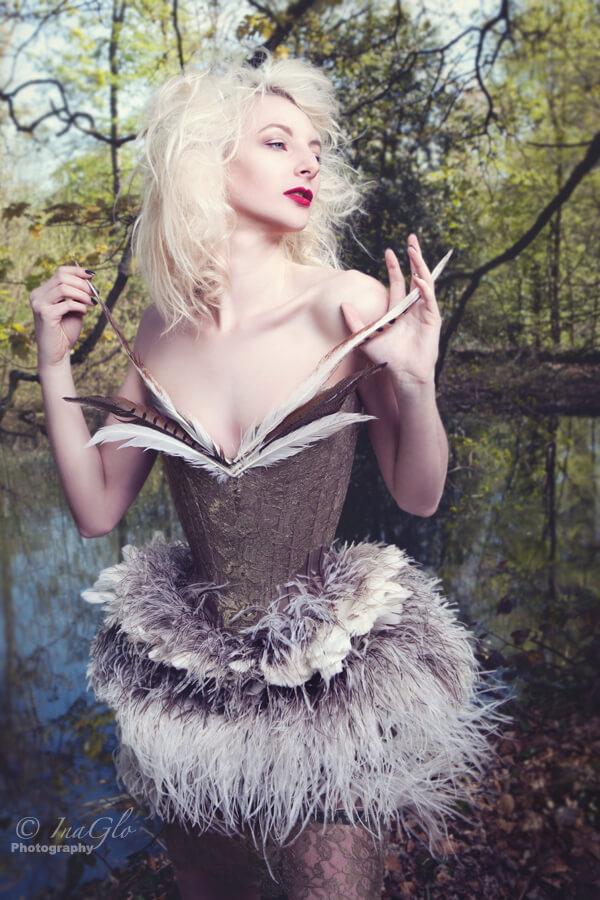 "Sparklewren ""Bird of Prey"" corset | Model: Cassie Rae Wardle | Photo © InaGlo"
