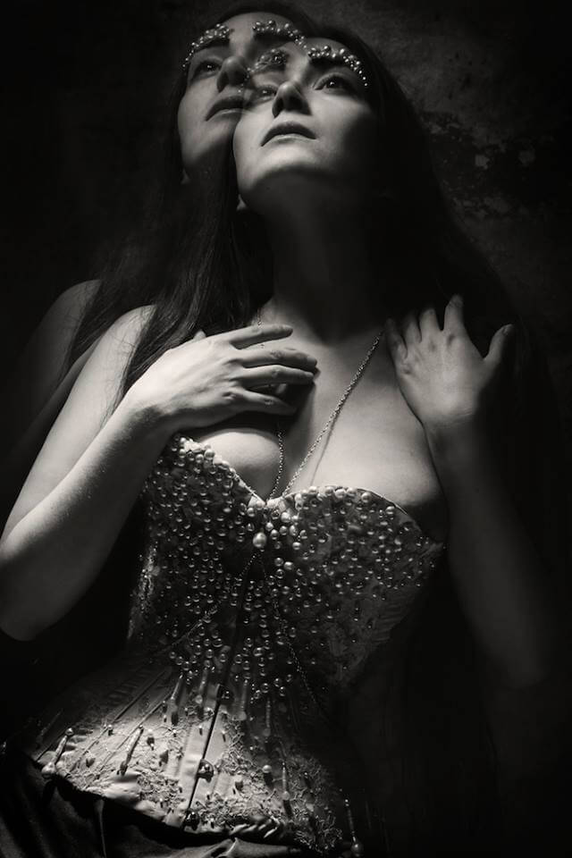 "Sparklewren embellished ""Jesus"" corset with pearls for OCOC 2014 | Model: Victoria Dagger | Photo © Sparklewren"