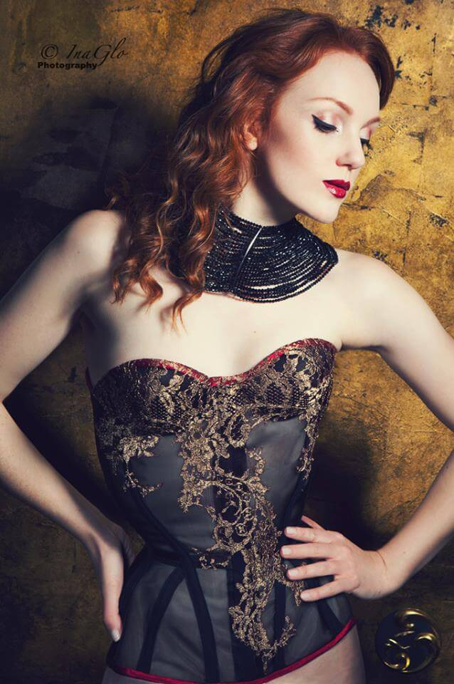 Sparklewren sheer cupped corset with lace applique | Model: Ivory Flame | Photo © InaGlo Photography