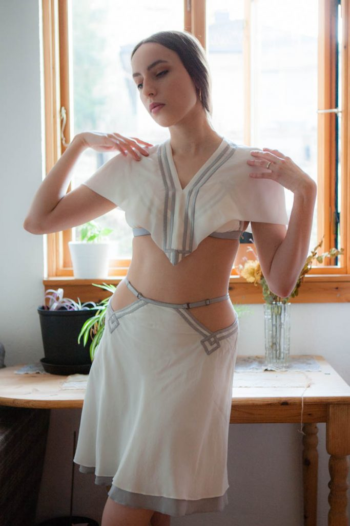 'Shhh...' capelet, bralet and half slip by Pillowbook. Photography by K. Laskowska