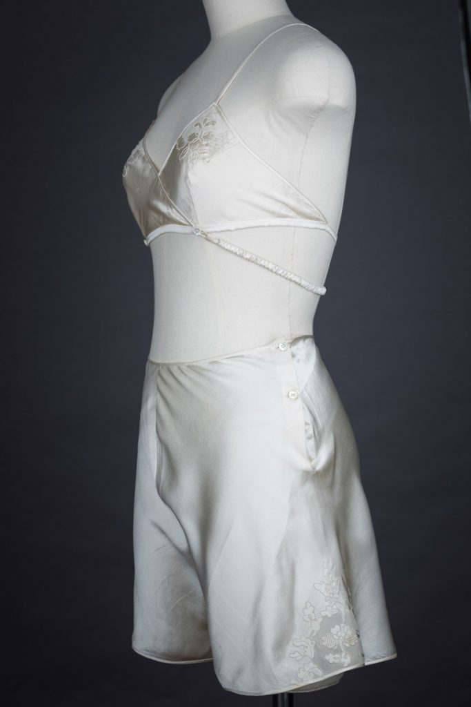 Embroidered Silk Kestos Style Bra & Tap Pant Set, c. 1930s, from The Unerpinnings Museum collection. Photography by Tigz Rice.