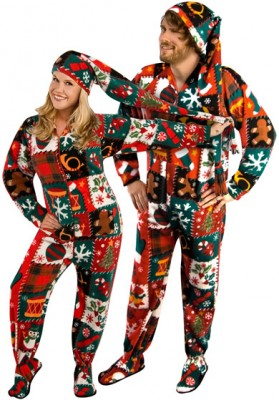 Ugly Christmas Sweater Footed Pajama $46.95