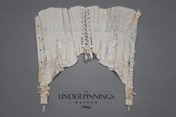 This Edwardian corset is made from a single layer of lightweight silk and is incredibly fragile. Every time it is handled, no matter how carefully, it sustains further damage. Ultimately it is too delicate to display on a mannequin, but it still offers deeply valuable study opportunities. From The Underpinnings Museum collection. Photo by Tigz Rice Studios