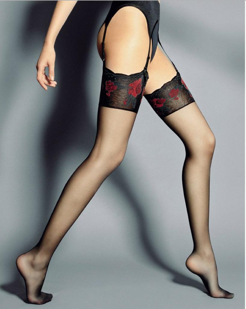 Veneziana Nadia floral pattern top sheer stockings