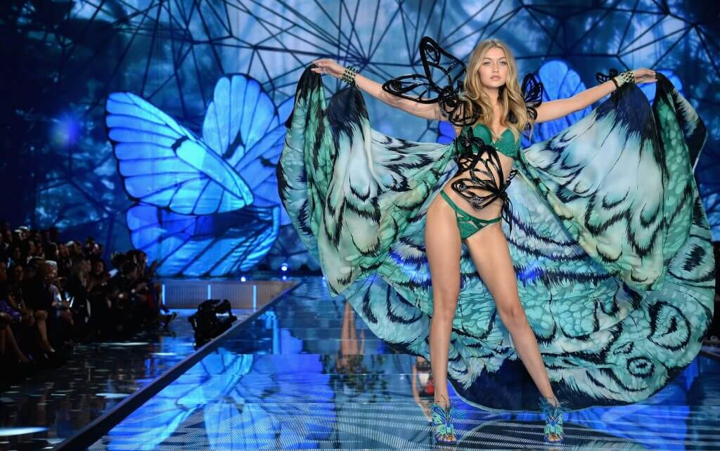 NEW YORK, NY - NOVEMBER 10: Model Gigi Hadid from California walks the runway during the 2015 Victoria's Secret Fashion Show at Lexington Avenue Armory on November 10, 2015 in New York City. (Photo by Dimitrios Kambouris/Getty Images for Victoria's Secret)
