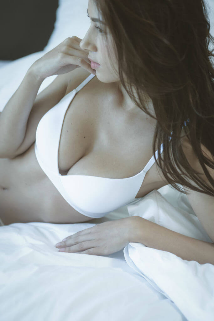Yasmin Joseph white bra front