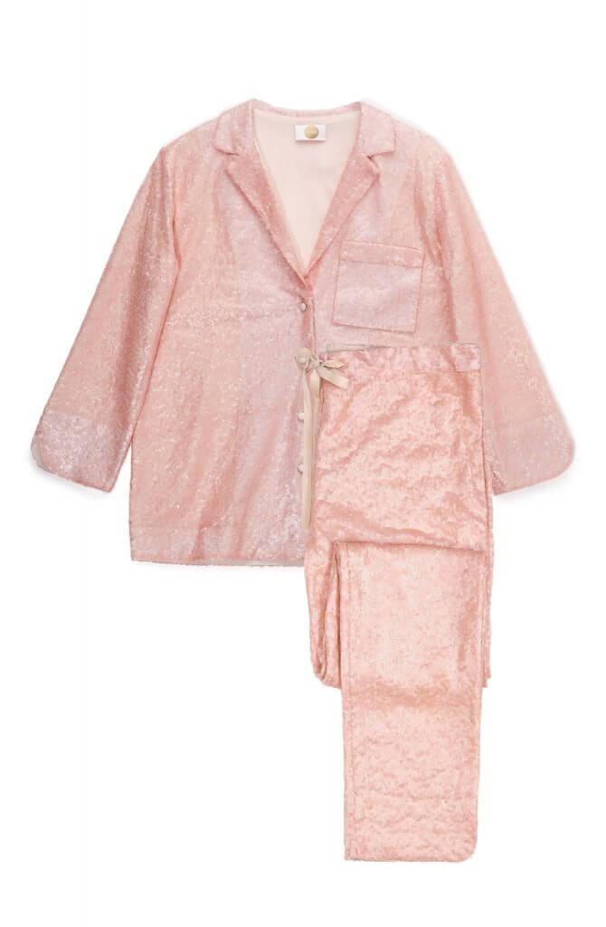 Yolke Rose Pink Sequin Pajamas