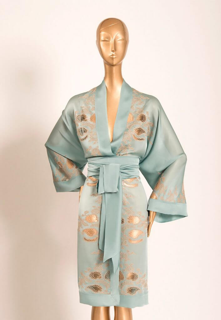 Carine Gilson. Lingerie Trends - Luxury Loungewear. Sky blue/celadon silk robe with inset lace and lace applique.