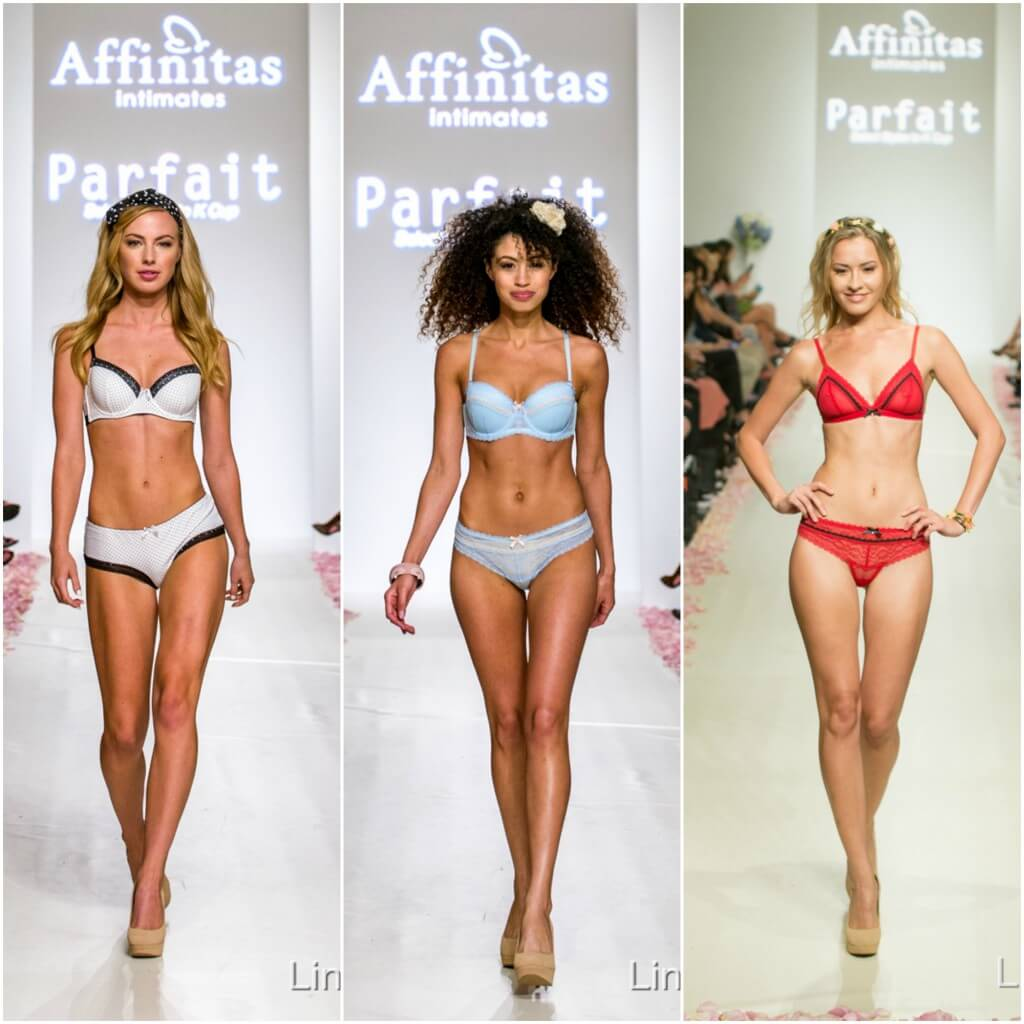Looks from the Affinitas/Parfait by Affinitas fashion show. Closing night of LingerieFW.