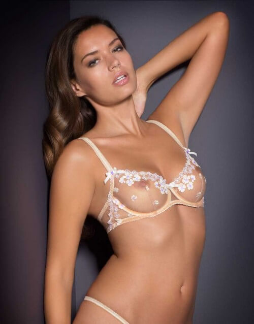 "Agent Provocateur ""Bethanie"" in peach/lilac, $175"