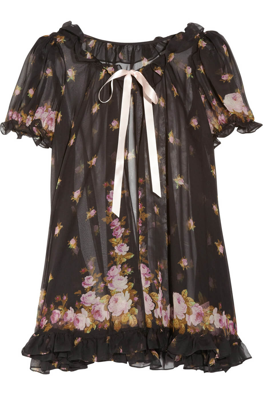 e29541c17f0 Sale Lingerie of the Week  Agent Provocateur  Sybil  Ruffle Floral Print  Silk Chiffon Robe