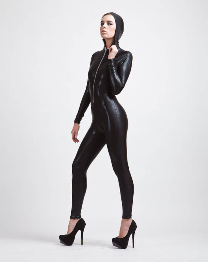 alicia zenobia hooded black catsuit