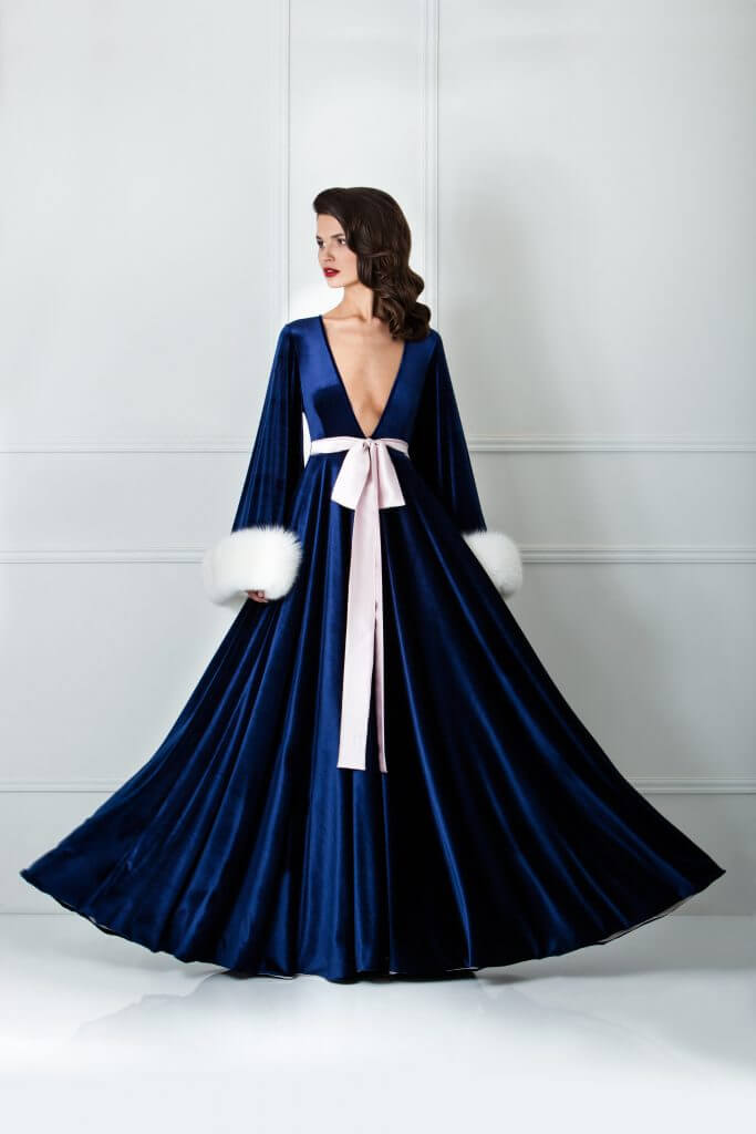 Amoralle Sapphire Velvet and Fur Sleeve Robe - $1293.40