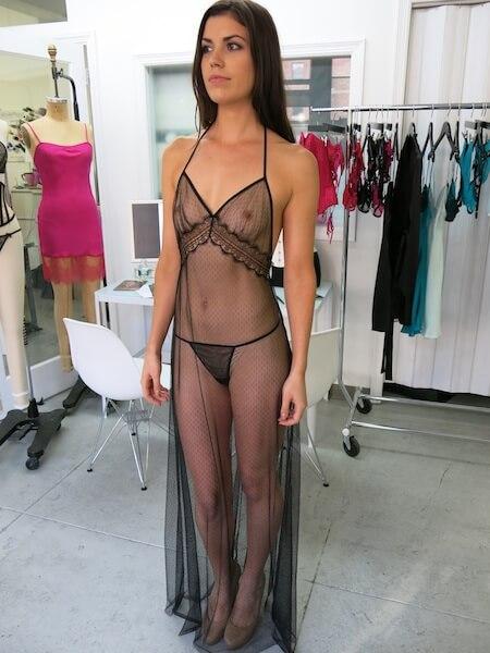 angela friedman black long gown