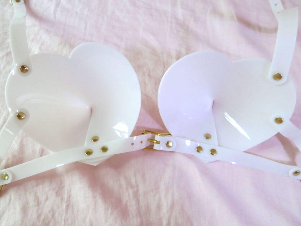 Internal cup view of  Apatico white, PVC bullet bra.