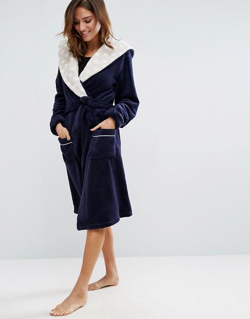 Chelsea Peers Navy Fluffy Robe - Valentine's Day Lingerie