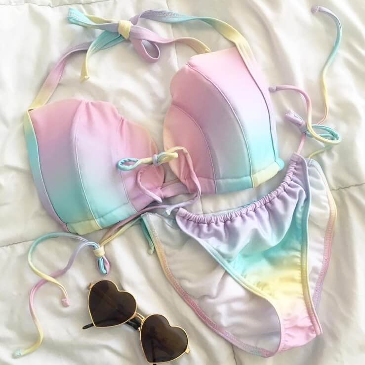 ASOS Fuller Bust Exclusive Ombre Print Mermaid Tie Bikini Top, $31, and Tie Side Tanga Bikini Bottoms, $22. Photo by Quinne Myers