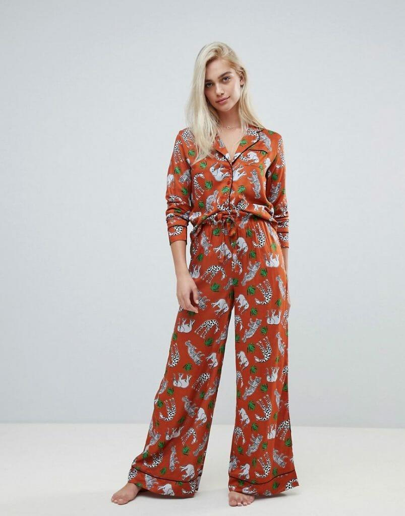 ASOS Design Safari Animal Pyjama Shirt and Wide Leg Pants