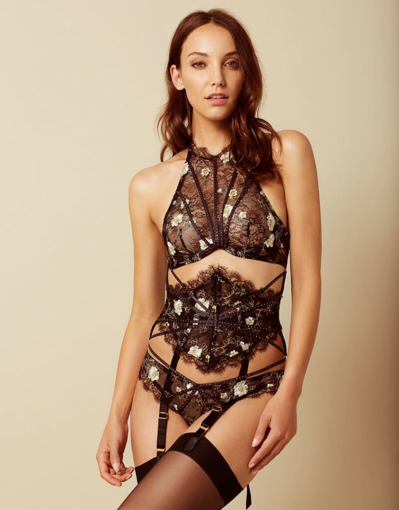 The Athena range by Agent Provocateur uses a leaves lace base that's machine reembroidered with a daisy motif.