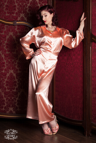 Peach Satin Bettie Pajama Top and Shirt by Betty Blues Loungerie