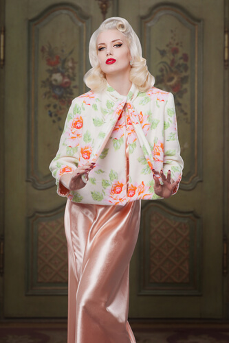 Peach Satin Nightgown and Reversible Bedjacket by Betty Blues Loungerie