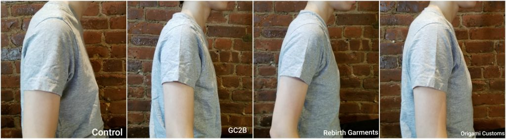 Binder reviews comparison image: no binder, gcb2, rebirth garments, origami customs