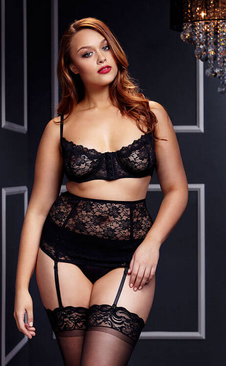 Black Lace Bra, Panty, & Waist Cincher Set - $27.95