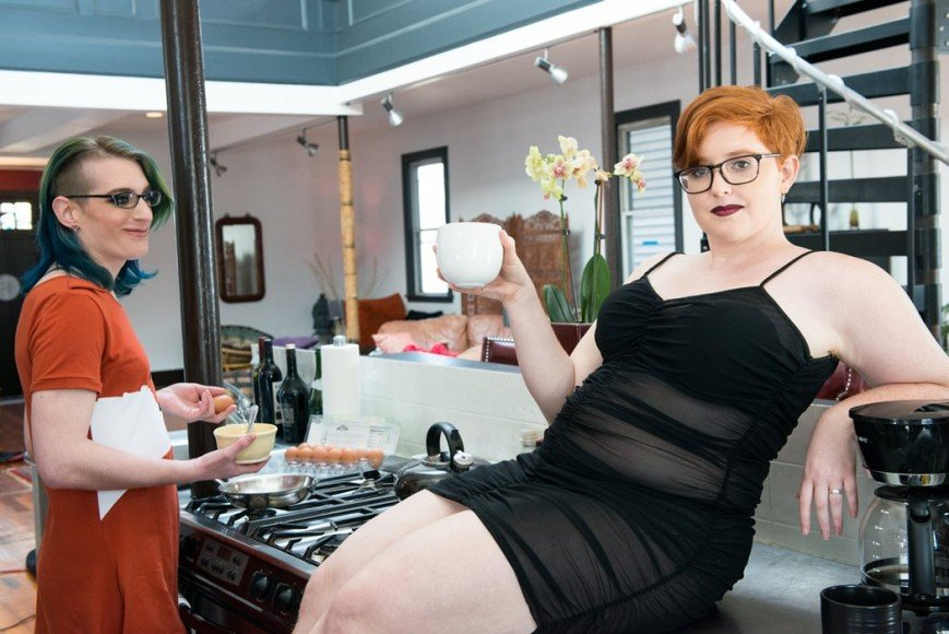 Photoshoot for the now-closed queer lingerie boutique, Bluestockings