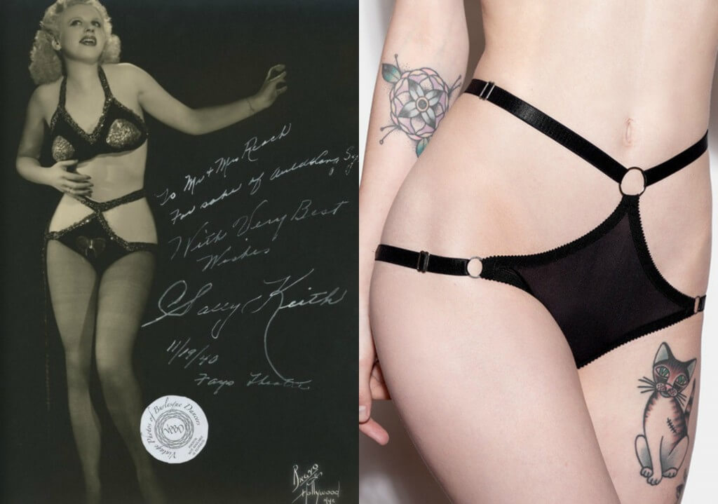 Burlesque cutaway knickers on left. Hopeless Lingerie 'Darla' knickers on right.