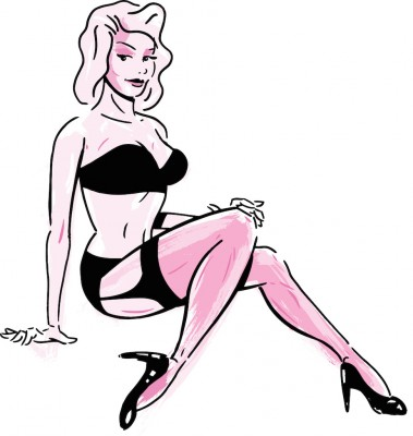 Burlesque dancer wearing stockings and suspenders