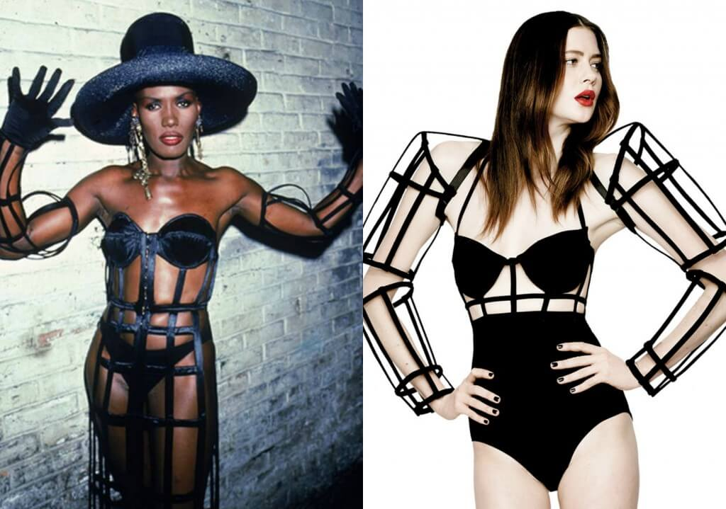 Grace Jones on left. Chromat 'Android Arms' on right.