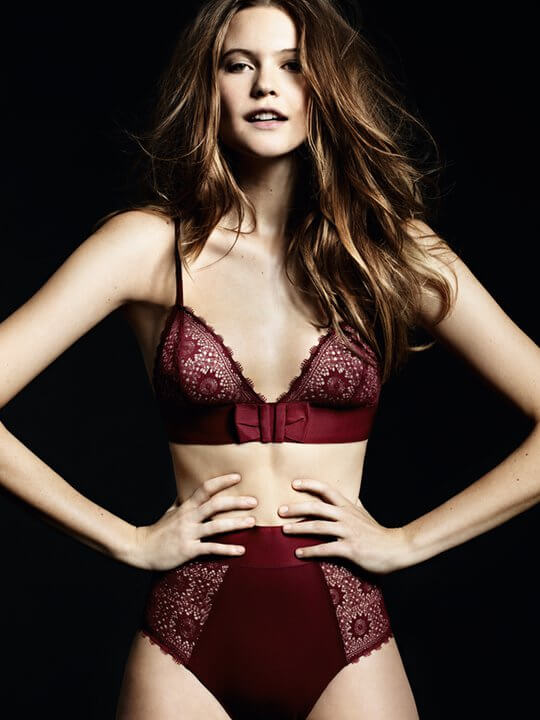 Princesse Tam-Tam. Lingerie Trends - Bralette. Red lace bra and high waisted knicker. Behati Prinsloo.