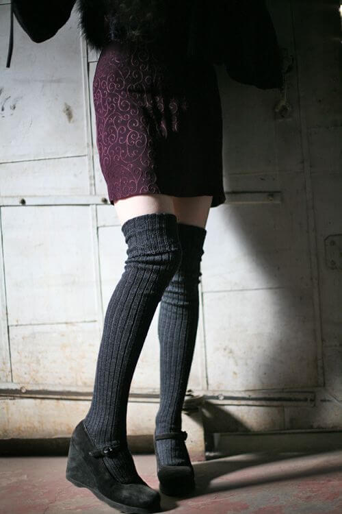 Cronert Ribbed Wool Over-The-Knee Sock. Winter Lingerie. Cold Weather.