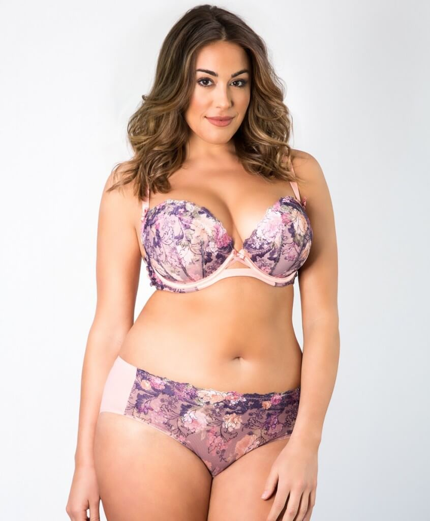 Curvy Couture's Love Affair Plunging Balconette, available in sizes 34C to 42H.