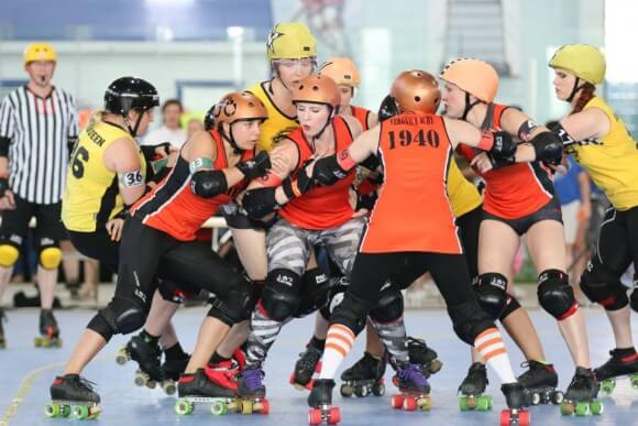 A roller derby jam, photographed by David Dyte