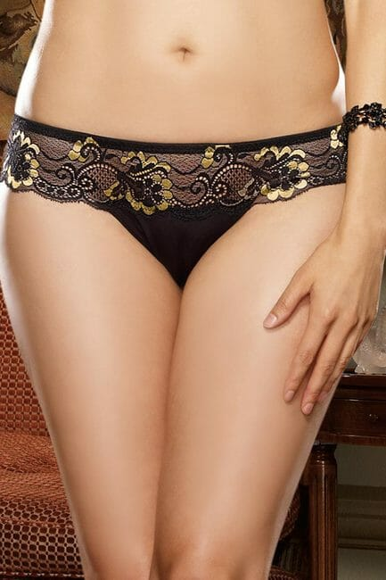 Black and Gold Lace Thong - Gold Holiday Plus Size Lingerie