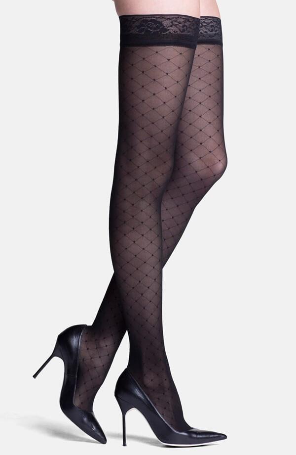 diamond pattern thigh highs