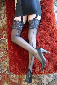 "Dollhouse Bettie Black Tulip Lace ""Eternity"" Stockings"