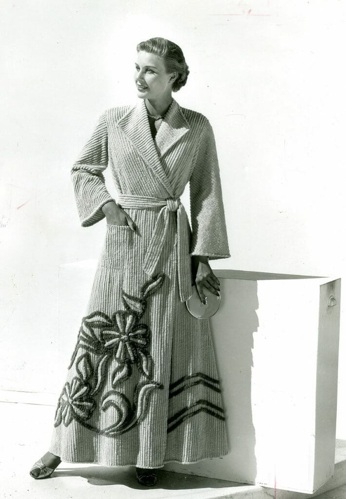 Model wearing a chenille robe by Art-Rich, circa 1953.