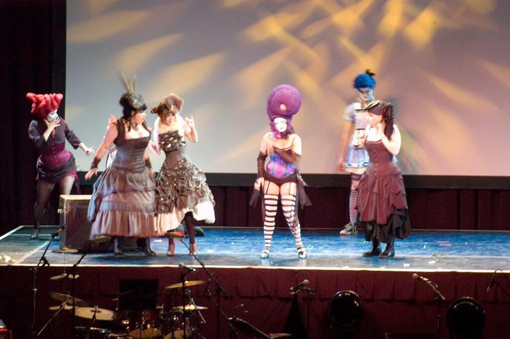 Dark Garden at Edwardian Ball - dancers and circus performers often require spiral boning for increased mobility