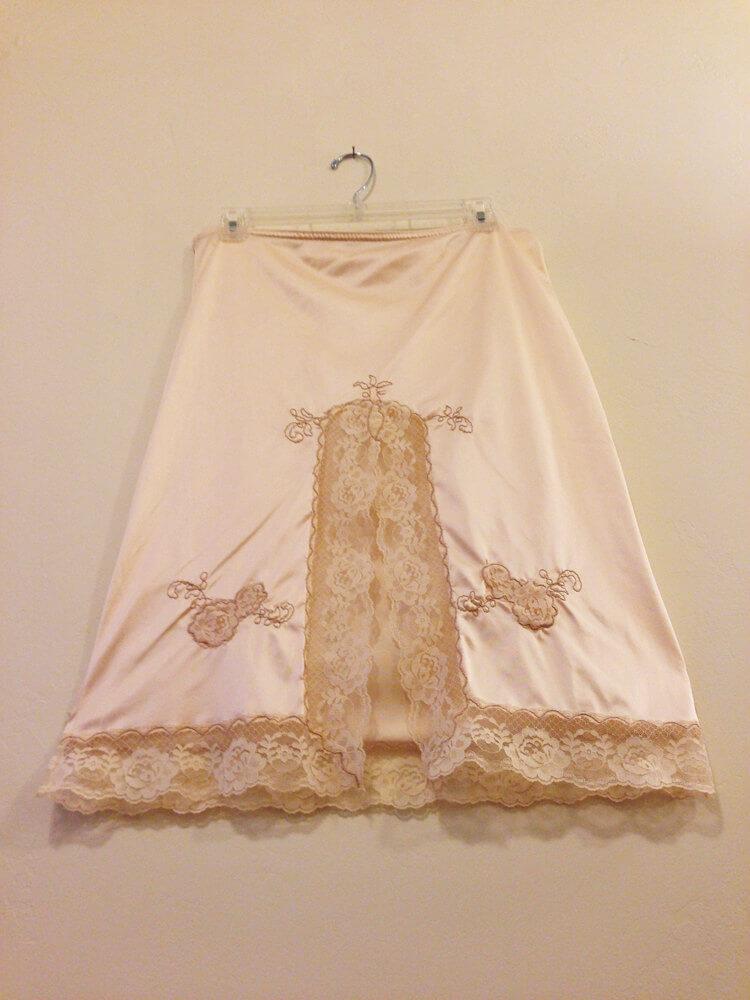Vintage Beige Embroidered Half Slip - $42.00