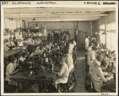 Photograph of a clothing factory interior with women employees. Ref: PAColl-9472. Alexander Turnbull Library, Wellington, New Zealand. http://natlib.govt.nz/records/22713008