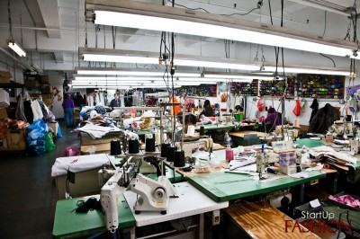 Apparel factory in New York City, 2011, via StartupFashion
