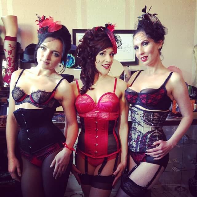 Live models dressed up in items from Dita's Von Follies collection, paired with Dark Garden corsets and handmade fascinators by Kalico Delafay and Pop Antique.